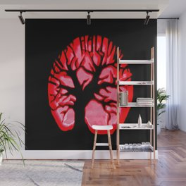 Happy halloweeN. Brain Tree Red Wall Mural