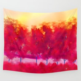 Sunset in Fall Abstract Landscape Wall Tapestry