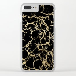 Stylish black faux gold foil elegant marble Clear iPhone Case