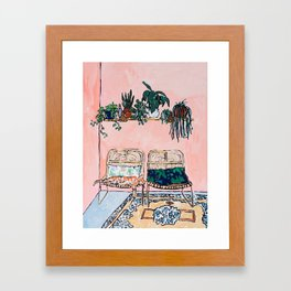 Two Chairs and a Napping Ginger Cat Framed Art Print