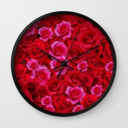 MIXED PINK & RED SPRING ROSES GARDEN  RED VIGNETTE Wall Clock