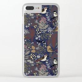 Winter Bird Pattern Clear iPhone Case