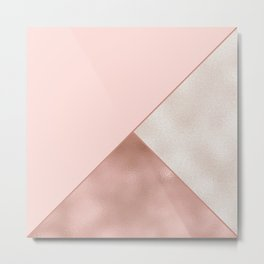 Luxury Glamorous Rose Gold Metallic Glitter Metal Print