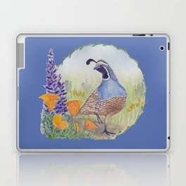 California Quail with Poppies and Lupine on Blue Laptop & iPad Skin