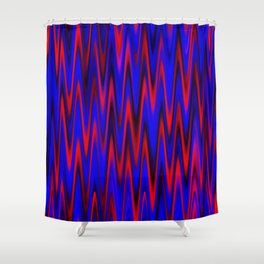 WAVY #1 (Blues & Reds) Shower Curtain