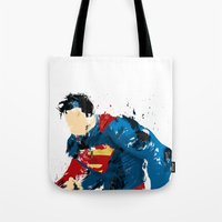 man of steel Tote Bags featuring Man of Steel by ALmighty1080