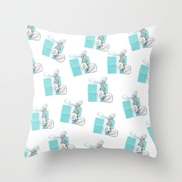 Blue Jewelry Box Throw Pillow