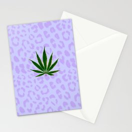 Cheetah Print Kush Leaf Stationery Cards