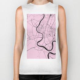 Bangkok Thailand Minimal Street Map - Pastel Pink and Black Biker Tank