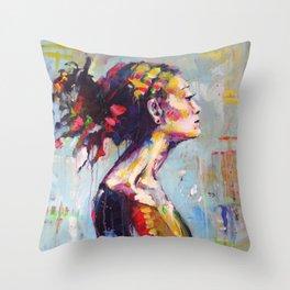 Lena- beautiful woman Throw Pillow