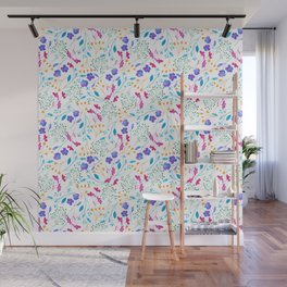 Bold & Colourful Fluro Floral Pattern Wall Mural