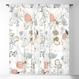Elegant abstract coral pastel blue modern rustic floral Blackout Curtain