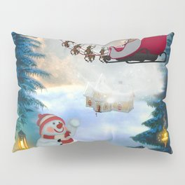 Christmas, snowman with Santa Claus Pillow Sham
