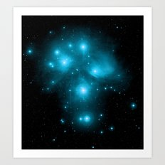 Galaxy: Plaiedes Constellation Turquoise Art Print
