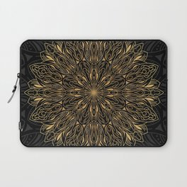 MANDALA IN BLACK AND GOLD Laptop Sleeve
