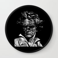 beethoven Wall Clocks featuring Beethoven by G_Stevenson