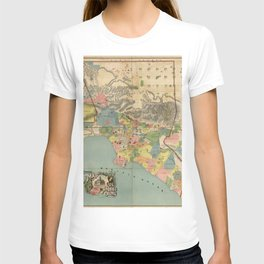 Vintage Map Of Los Angeles County CA T-shirt