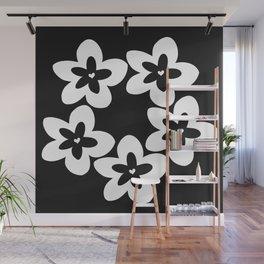 Black and White Plumeria Lei Wall Mural
