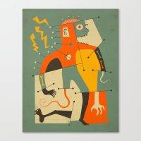 frankenstein Canvas Prints featuring Frankenstein by Jazzberry Blue