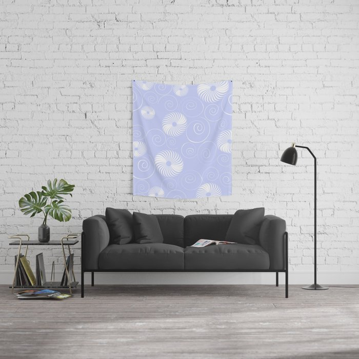 White Spirals Wall Tapestry