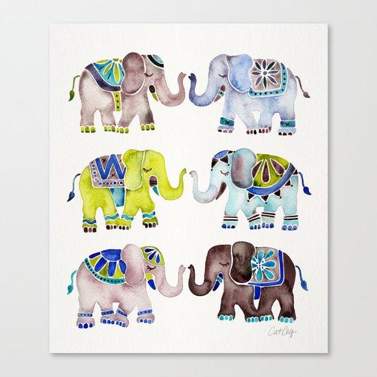 Elephant Collection – Cool Palette Canvas Print