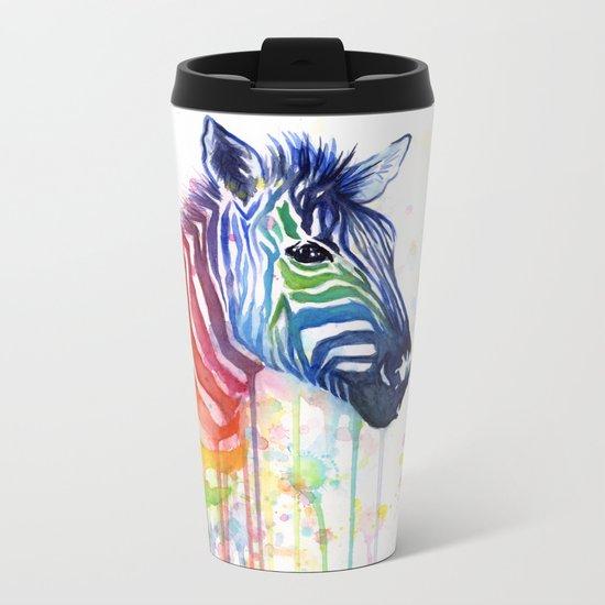 Zebra Rainbow Watercolor Whimsical Animal Metal Travel Mug