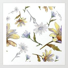 Watercolour Daisy Flowers Pattern Art Print