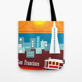 San Francisco, California - Skyline Illustration by Loose Petals Tote Bag
