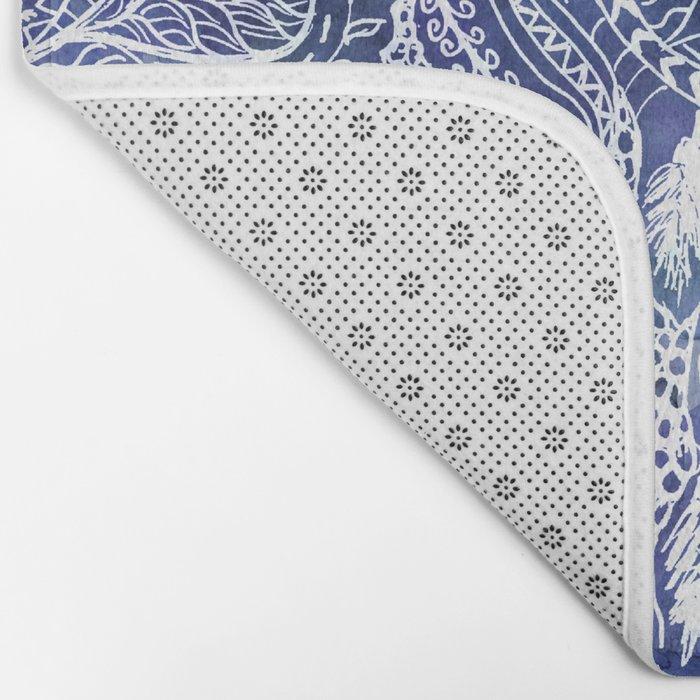 Boho blue dreamcatcher feathers floral illustration Bath Mat