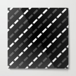 black white gray stripes dashed lines abstract 3d geometric Metal Print