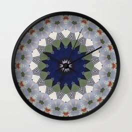 Patchwork Whimsy -- Vintage Block Quilt Mandala Kaleid0scope Wall Clock