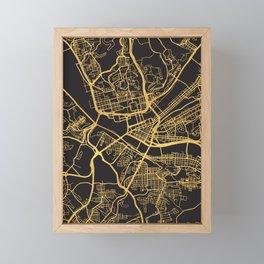 PITTSBURGH PENNSYLVANIA GOLD ON BLACK CITY MAP Framed Mini Art Print