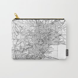 Vintage Map of Naples Italy (1901) BW Carry-All Pouch