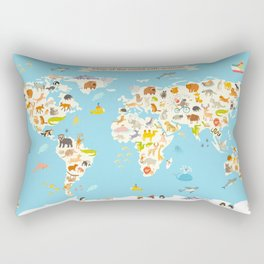 Animals world map. Colorful cartoon vector illustration for children and kids Rectangular Pillow