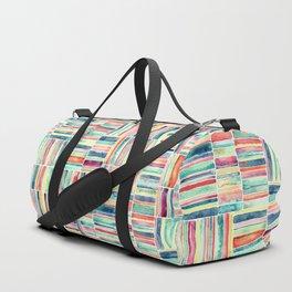 Retro Beach Chair Pastel Watercolor Stripes Duffle Bag