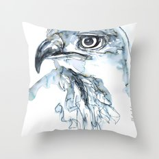Hawk, Watercolor Throw Pillow