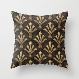 Elegant Gold Brown Art Deco Pattern Throw Pillow