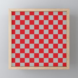 Checkered Red and Silver Framed Mini Art Print