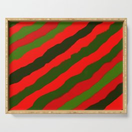 Merry Red Green Holiday Stripes Serving Tray