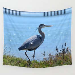 heron by the bridge Wall Tapestry