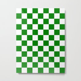 Checkered - White and Green Metal Print