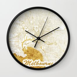 Melbourne Map Gold Wall Clock