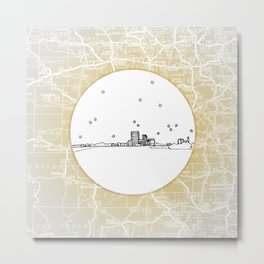 Abilene, Texas City Skyline Illustration Drawing Metal Print