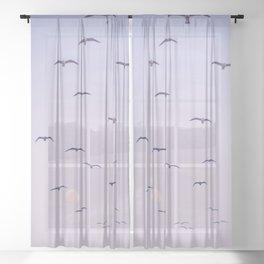 Seagulls & Moon by Murray Bolesta Sheer Curtain