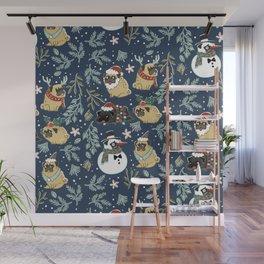 Christmas Pugs Wall Mural