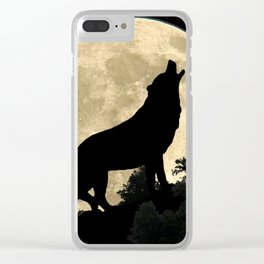 Wolf Howling at the Full Moon A303 Clear iPhone Case