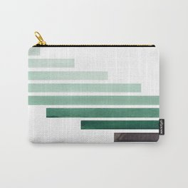Deep Aqua Green Midcentury Modern Minimalist Staggered Stripes Rectangle Geometric Aztec Pattern Wat Carry-All Pouch