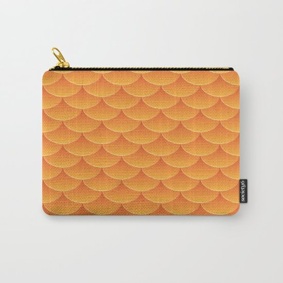 Goldfish and Dragon Orange Scale Pattern Carry-All Pouch