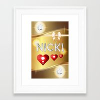 nicki Framed Art Prints featuring Nicki 01 by Daftblue