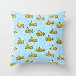 Yellow Submarine - blue sea  Throw Pillow